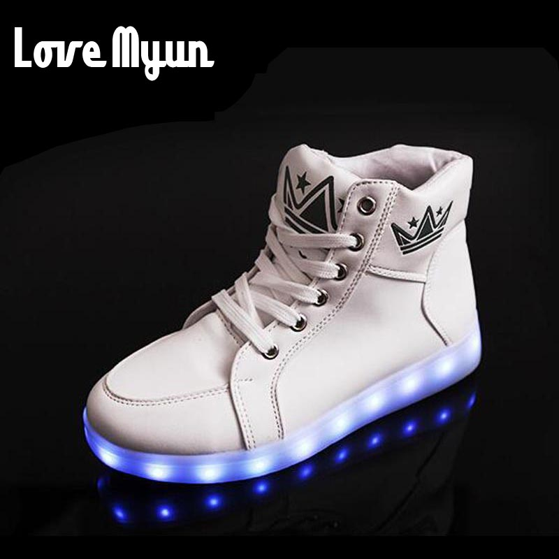 ФОТО Men New 7 Colors camouflage Casual Flash Shoes Luminous Shoes High Top LED Lights USB Charging Colorful Shoes  DD-105