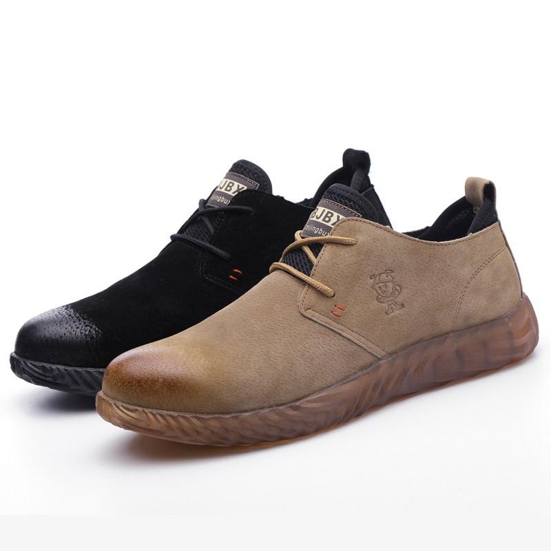 Homens tamanho grande respirável biqueira de aço tampas de trabalho sapatos de segurança anti-pierce porco camurça tênis de couro lace-up segurança botas zapato