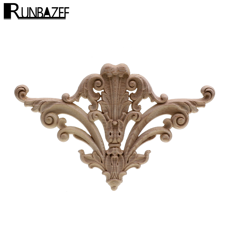 New Flower Wood Carving Natural Appliques For Furniture Cabinet Unpainted Wooden Mouldings Decal Decorative Figurine Home Decor