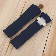 En caoutchouc perforé sangle 25*12 MM noir brun bleu montre avec accessoires aucune boucle forUlysse Nardin MARINE1183-126/40