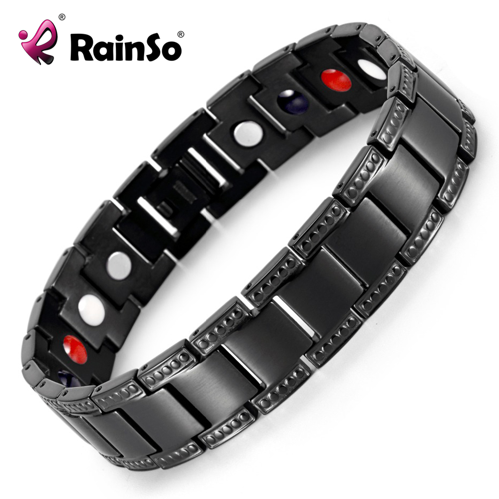 Black Titanium Bracelet Balance Energy Healing Negative ions Magnetic Power Men Bracelet Chain Gift OTB-1284 браслет power balance xs evolution black