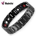 Free Shipping! Black Titanium Bracelet Balance Energy Healing Negative ions Magnetic Power Men Bracelet Chain Gift OTB-1284