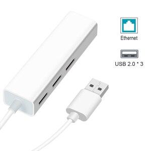 Image 4 - Adaptador USB a Ethernet, 3 puertos, Hub USB 2,0, Ethernet, RJ45, Lan, tarjeta de red cableada para tarjetas de red de PC Android, RTL8152, 10/100Mbps
