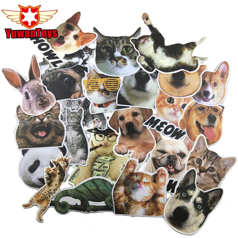 24Pcs Pvc Pet Dogs Cat Stickers Animal French Bulldog Sticker For Refrigerator Laptop Luggage Snowboard Suitcase Decal Sticker
