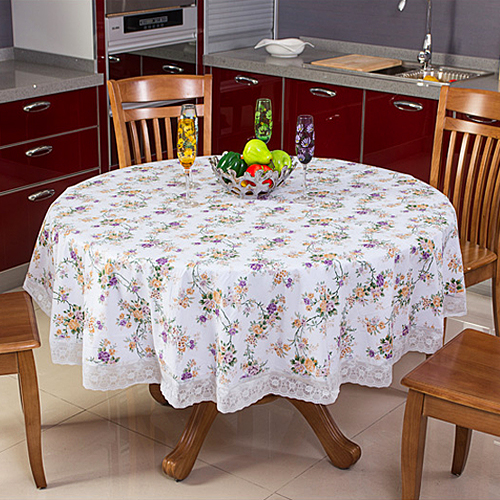 Round Table Cloth Elegant Print Dining Plastic
