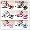 AMGJ Wholesale 6 Sets Polymer Clay Flower leather chain Necklace Jewelry Sets Plumeria Hawaii flower Rhinestone pendant necklace