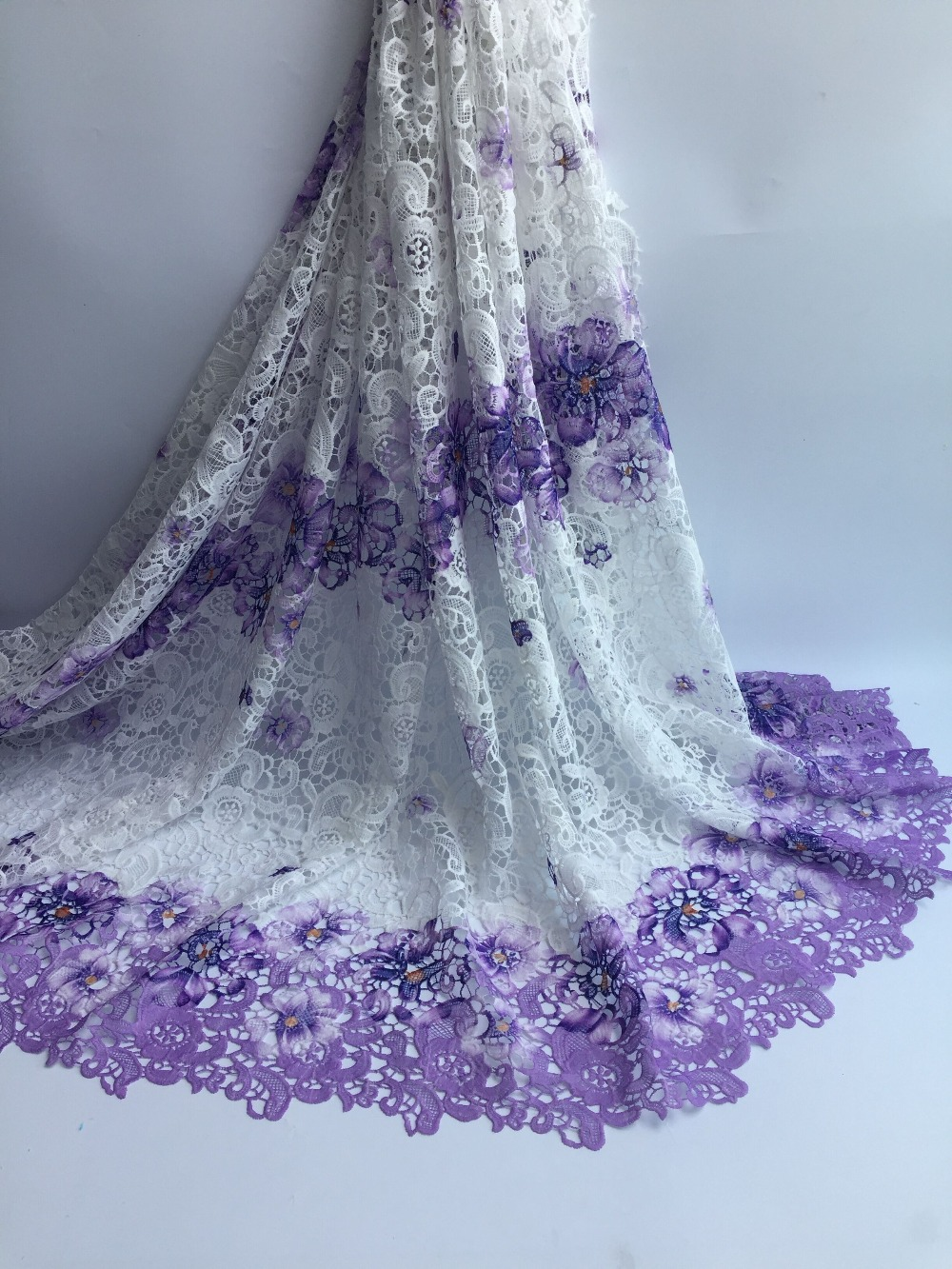 Purple New Design African Cord Lace Guipure Lace Fabrics High Quality Latest Fashion African Lace Fabric