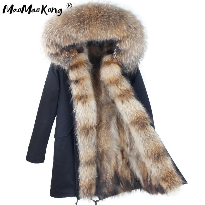 Kadın Giyim'ten Gerçek Kürk'de Gerçek doğal Kürk Ceket kış ceket Uzun Kadın kürk astar kapşonlu parkas'da  Grup 1