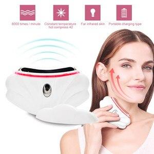 Массажер для лица, шеи, гуаша, электрический, двойной подбородок, для удаления папады, тонкий, против морщин, ультразвуковой уход за кожей, ин...