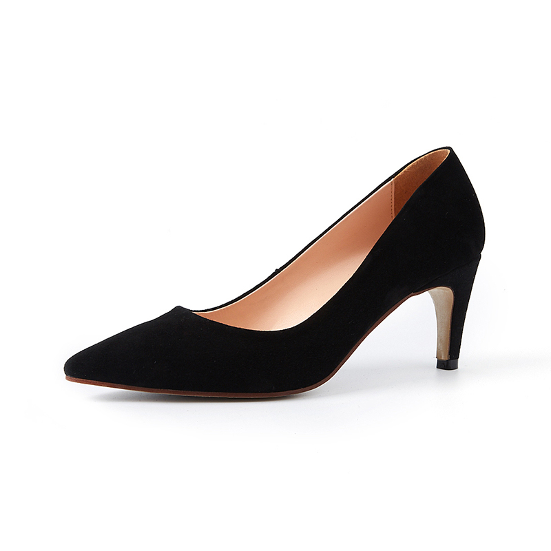 KarinLuna genuine leather 2018 kid suede slip on high Heels women shoes woman black pointed toe Pumps Shoes Woman size 34-39 black ladies cool casual pumps wedge korean slip on high heels suede creepers big size 4 34 green platform shoes round toe