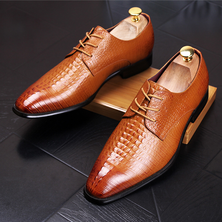 England style men luxury business wedding breathable genuine leather shoes crocodile pattern emboss oxfords shoe point-toe lace men luxury crocodile style genuine leather shoes casual business office wedding dress point toe handmade brogue footwear oxfords page 5 page 5 page 2 page 1