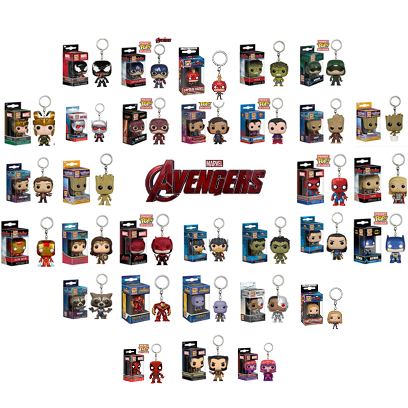 FUNKO POP Marvel Avengers: Endgame Thor Loki Thanos Venom Deadpool Justice League Pocket Keychain Action Figure Toys For Boys(China)