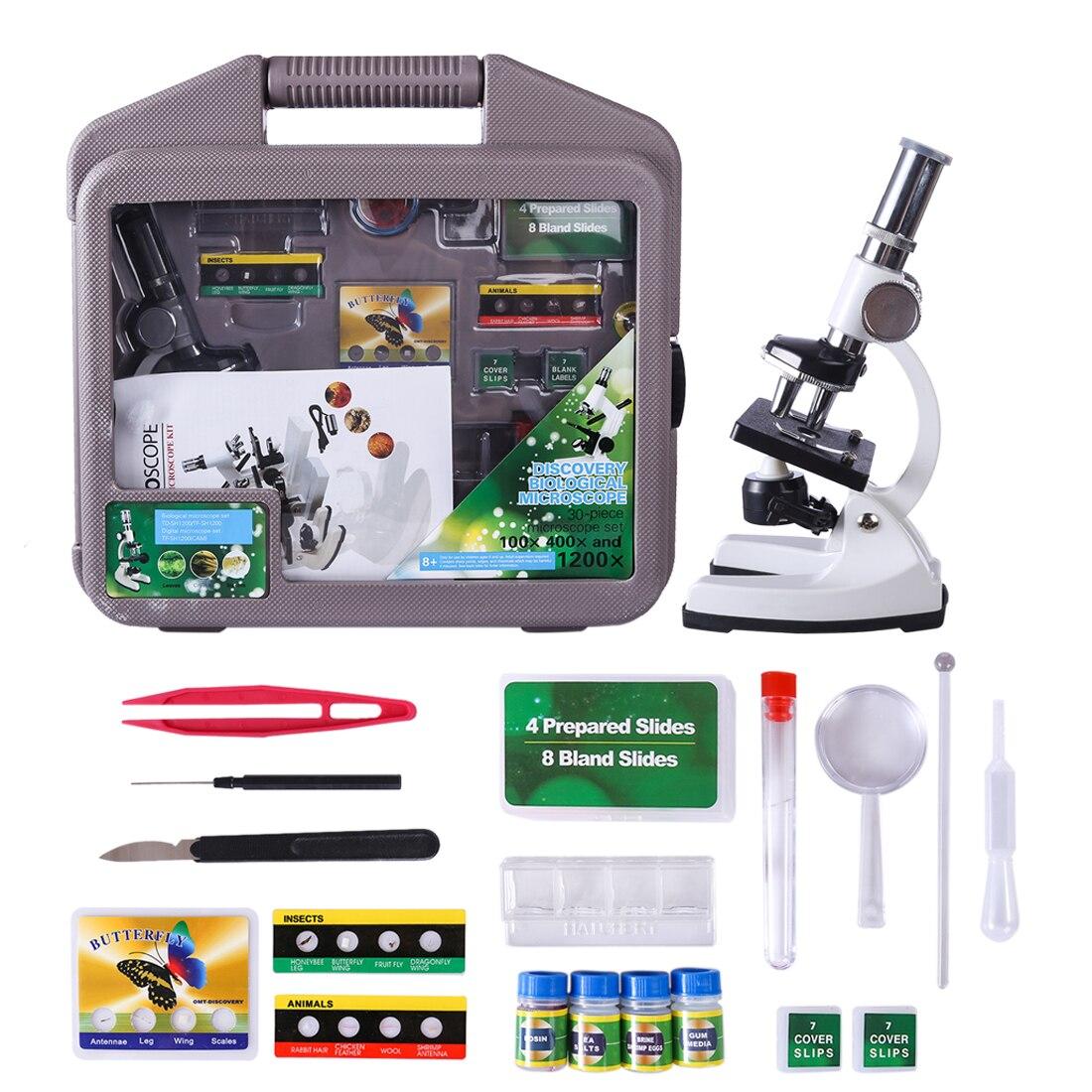 Nouveau Kit de technologie LED de laboratoire 100x 400x 1200x maison école jouet éducatif cadeau Microscope biologique pour enfants enfants jouets