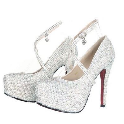 Eu33 41 Wedding Bridal Shoes Colorful Appliques Rhinestone Crystal 8 11 14cm  High Heels Sapato De Noiva Casamento 9 Colors-in Women s Pumps from Shoes  on ... 07fc66ec70d8