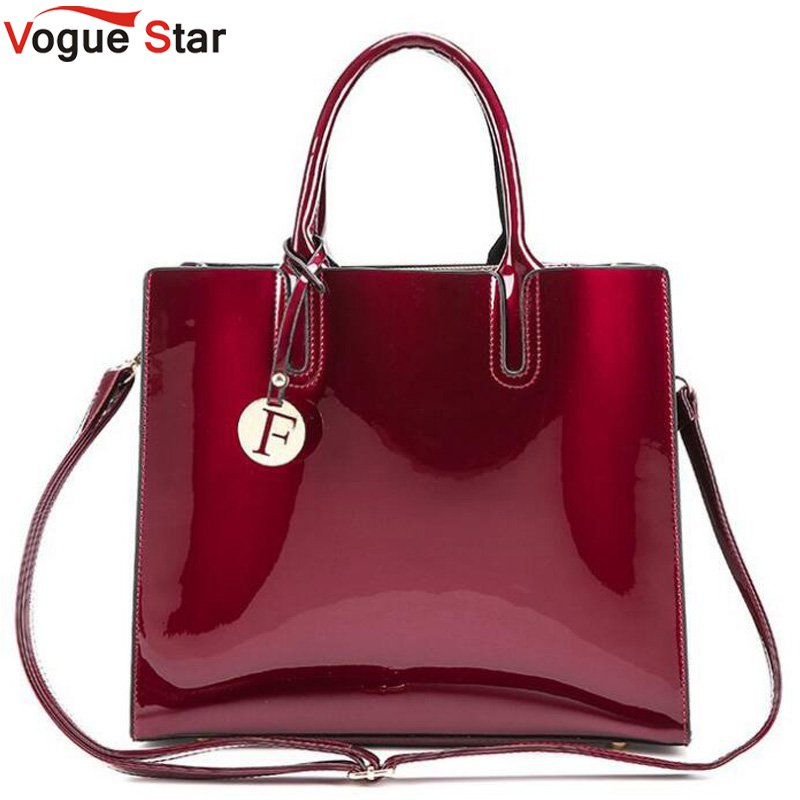 все цены на luxury designer Red Patent Leather Tote Bag Handbags Women Famous Brand Lady's Lacquered Handbag bags for Women Shoulder Bag Sac в интернете