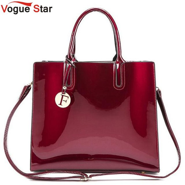 luxury designer Red Patent Leather Tote Bag Handbags Women Famous Brand  Lady s Lacquered Handbag bags for 12f31299c07be