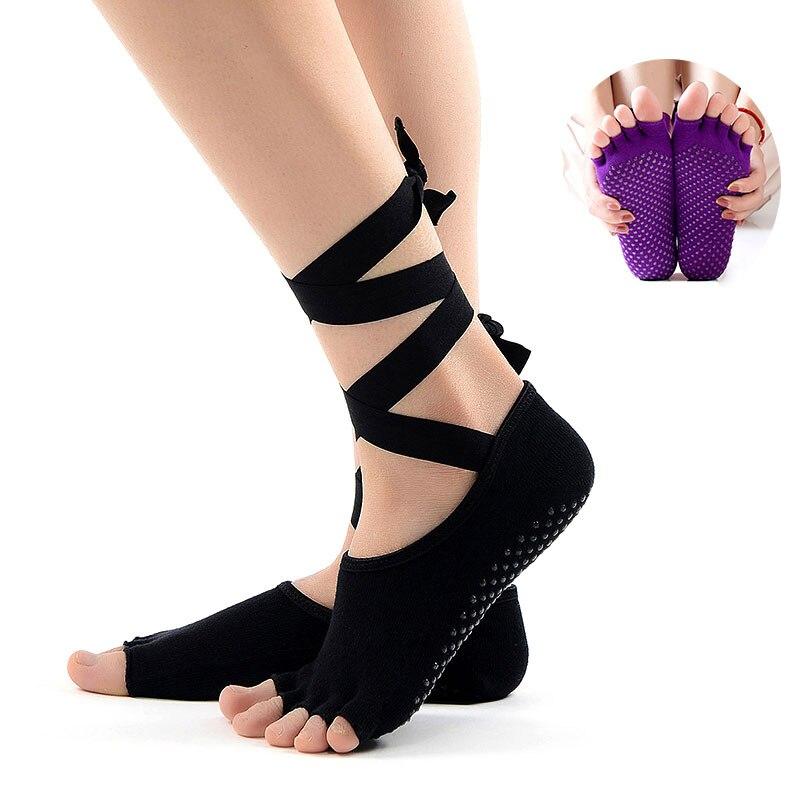 ★  Anti Slip Bandage Женщины Спорт Йога Носки 5 Пальцев Пальцев Ног скольжения Фитнес Теплые Носки Трен ①