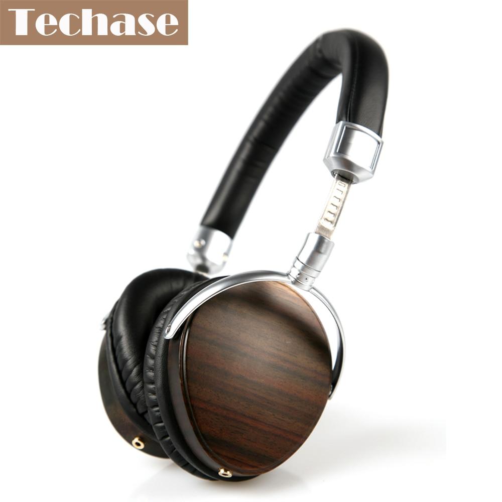 Techase Wooden Headset Profesional HiFi Headphones Dynamic Stereo Sound Bass Music MP3 Player 3.5mm fone de ouvido PK Xiomi ks 509 mp3 player stereo headset headphones w tf card slot fm black