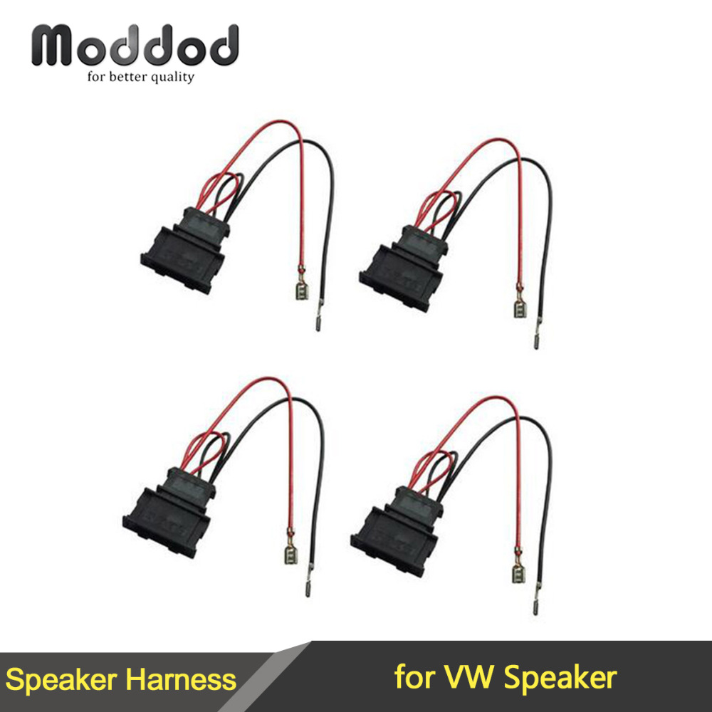 For VW SEAT PASSAT GOLF POLO Radio Stereo Speaker Wire Harness Adapter  Plugs Aftermarket Cable 2 Pairs