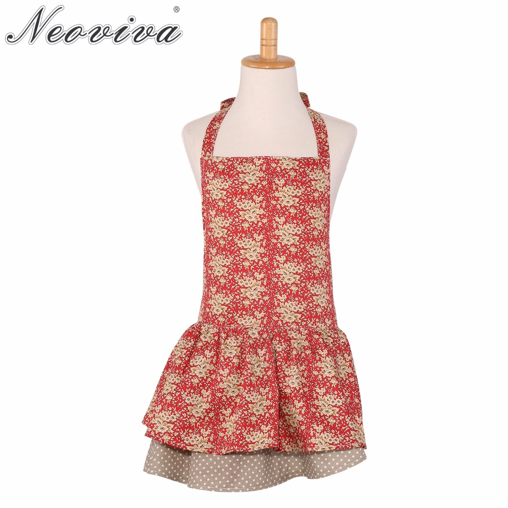 Neoviva Cotton Twill Flirty Apron for Child with Skirt Layer on Layer Annie Floral Mandarin Red Blossom Halter DrinkDress Aprons