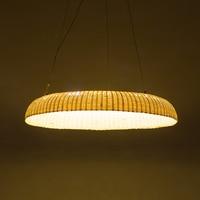 Bamboo ring led pendant lamp restaurant dining room annular LED lamp bar creative personality tea bamboo lamp Pendant Lights ZA