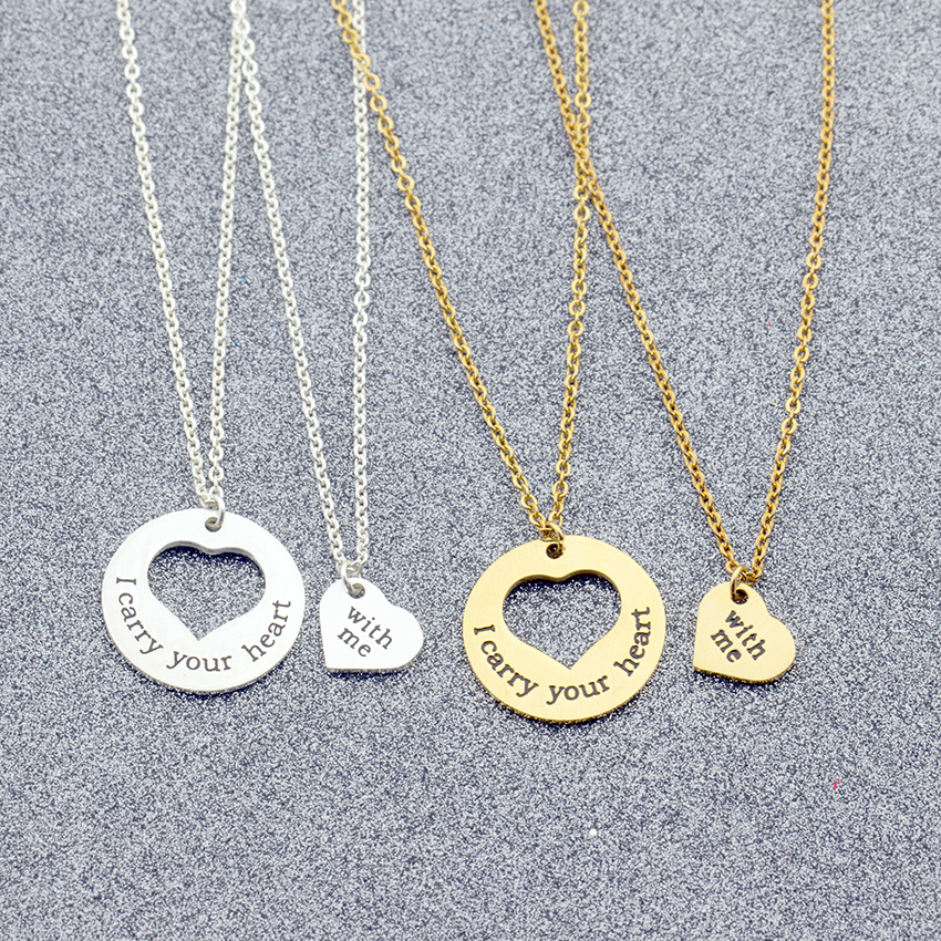 29d7d35b669bc US $3.6 20% OFF|2piece/set I carry your heart & with me Necklace Match  Heart Necklace Pendant Women Jewelry Maxi Collares Mom Girlfriend Gifts-in  ...