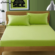 Home Textile Apple Green Satin Cotton Fitted Sheet Twin Full Queen King Size Solid Color Bed Sheet Bed Mattress Protect Sheets