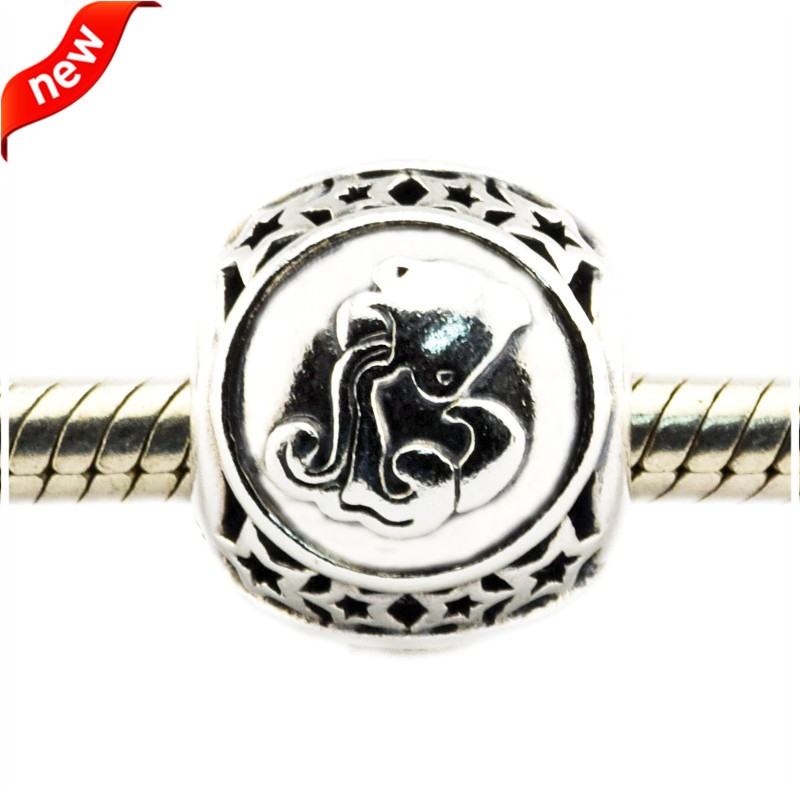 Fits Pandora Bracelet Charms Silver 925 Original Beads for Jewelry Making Aquarius Star Sign Silver Charms DIY Beads for Women