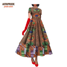 African graceful fashion dress for women elegant lady african clothing print cotton wax short sleeve floor-length plus size