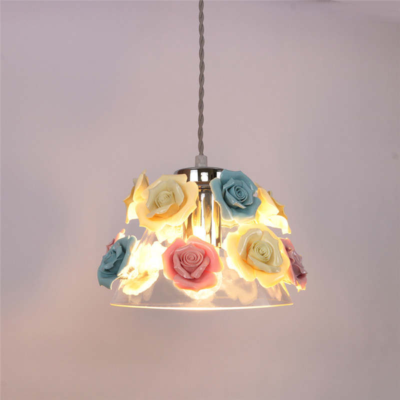 Colourful flower pendant light Modern Dining Room Restaurant Bar coffee shop pendant lamps blue pink wedding lamps ZA326356 smt ftf 44mm feeder for juki pick