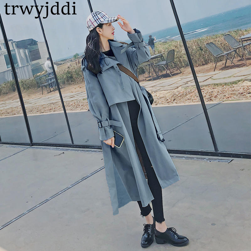 2019 Spring Autumn Women's Windbreaker Lapel Long Sleeve Bandage Casual Loose Long   Trench   Female Coat Korean Fashion Clothing