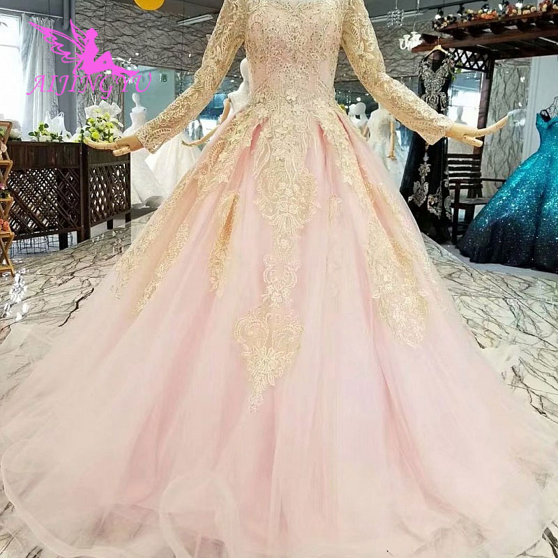 AIJINGYU Sexy Wedding Dresses Gowns 2018 Princess White Boho Real Gown France Wedding Dress Plus Size With Sleeves