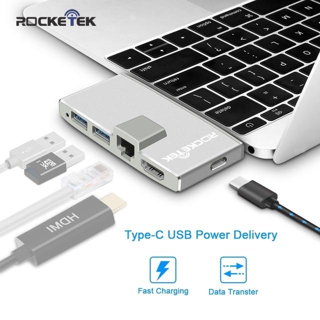 Rocketek usb 3.0 hub card reader 4K HDMI 1000Mbps Gigabit Ethernet adapter for MacBook pro computer pc laptop accessories