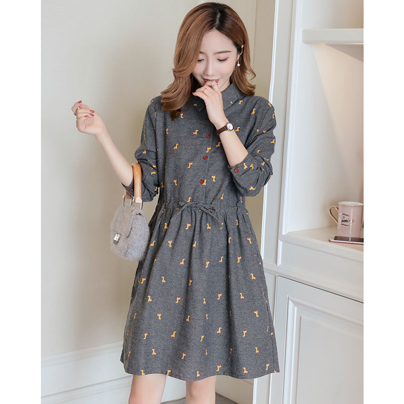 Maternity Dresses Pregnancy Clothes For Pregnant Women Casual Autumn Long Sleeve Print Slimming Pregnant Dress Vestidos