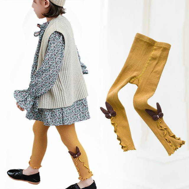 81eb06df48f89 Autumn Winter Kids Girls Knitted Leggings Children Solid Legging Baby  Toddler Casual Ankle Bowknot Stockings
