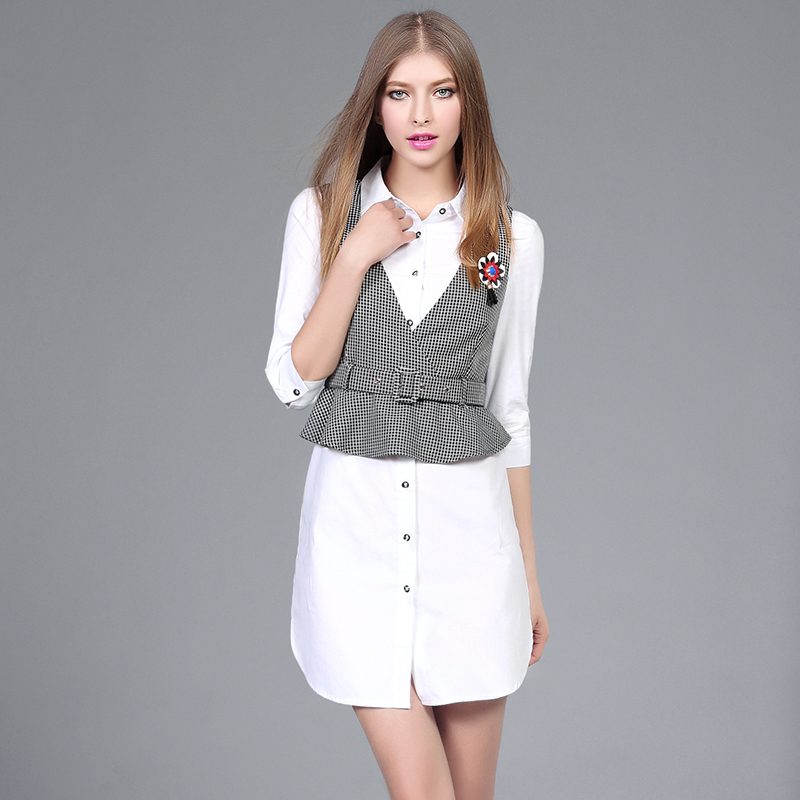 395d9b2a3b Spring Women Casual 2 Piece Set Ladies OL Medium long shirt dress and V  Collar Swallow Gird Slim Vest plus size dress suits 2515-in Women s Sets  from ...