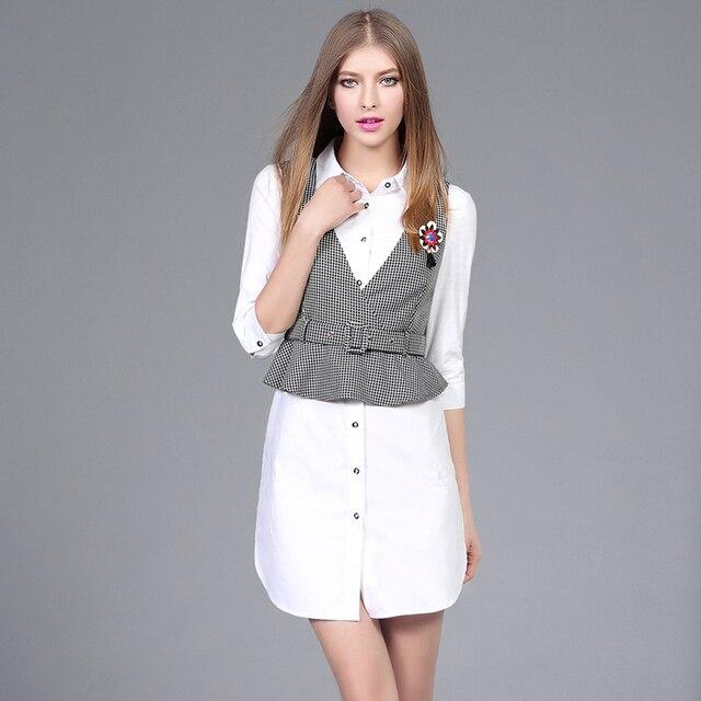 Spring Women Casual 2 Piece Set Ladies OL Medium long shirt dress and V-Collar Swallow Gird Slim Vest plus size dress suits 2515