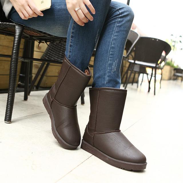 2016 inverno PU botas de couro à prova d' água botas de neve no clássico anti-slip espessamento das mulheres mid-calf botas quentes botas mujer
