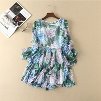 2017 Europe And United States Women S New Dress Green Leaves Three Dimensional Flower Large Horn