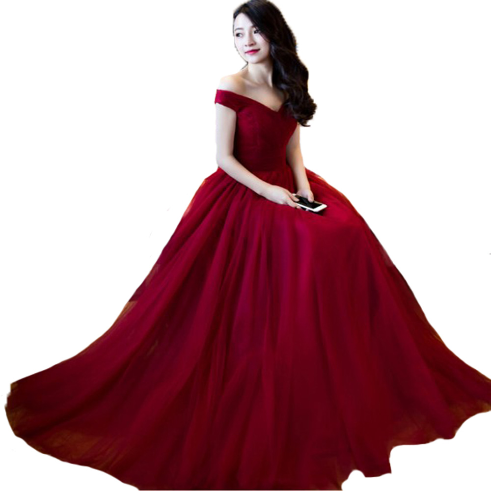 Burgundy 2017 bridesmaid dress long off shoulder maid of for Formal long dresses for weddings