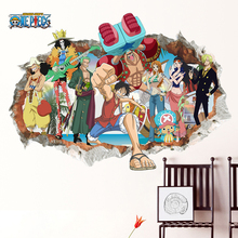 Cartoon One Piece Luffy Smashed Wall Stickers Japanese Anime Comic 3D Window Kid Bedroom Nursery Room Decoration Mural Pvc Decal