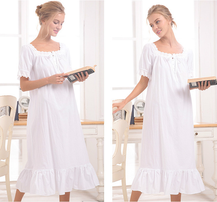 white/gray 2018 Brand Comfy Sleep Lounge Women Sleepwear Cotton Long Nightgown Sexy Home Dress Lady Elegant Nightdress Plus Size