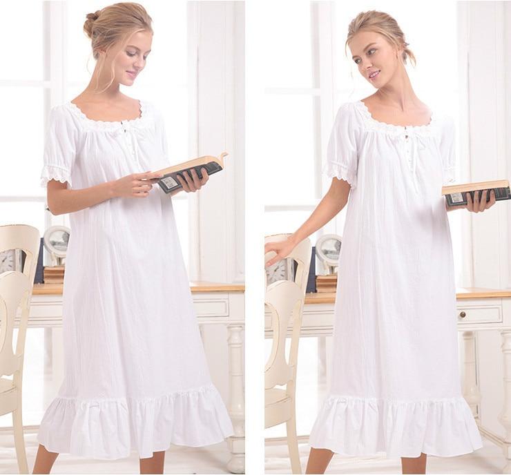 white/gray 2018 Brand Comfy Sleep Lounge Women Sleepwear Cotton Long Nightgown Sexy Home Dress Lady Elegant Nightdress Plus Size