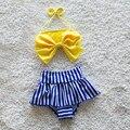 Бесплатная доставка купальники ребенок купальный костюм дети fringe бикини 1-2Y новорожденных девочек желтый дождь лук Fringe купальники высокой талией Купальники