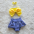 Envío libre de baño del bebé del traje de baño los niños bikini franja 1-2Y bebés lluvia arco amarillo Franja de natación de Baño de cintura alta