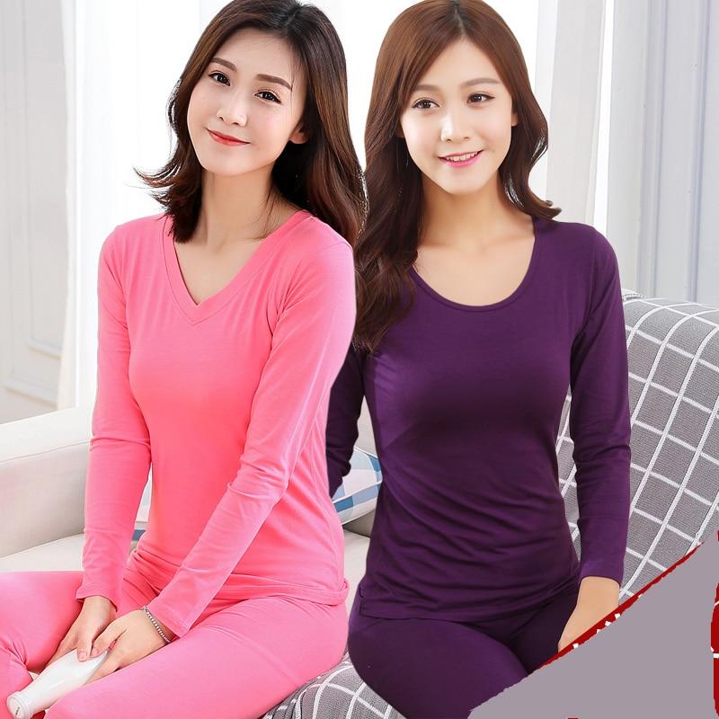 2017 Ladies Underwear Thin Clothes Modal Backing Female Clothing Line Pants Long Johns Modal Cotton Underwear Set
