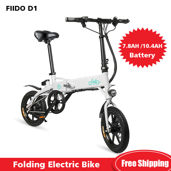 FIIDO D1 Mini Electric Bicycle Aluminum Alloy Smart Folding Electric Bike Moped Bicycle EU Plug 7.8AH/10.4AH BATTERY Black White