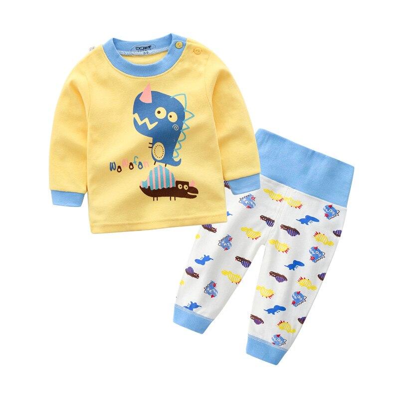 Для маленьких мальчиков Костюмы комплекты для маленьких девочек Длинные рукава 100% хлопок футболки и брюки костюм осень дети мультфильм Пов...