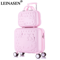 Hello Kitty Cabin Luggage & Suitcase set,Women Child Bag Gift ,Lovely cartoon Trip case,Universal Wheels Trolley Box