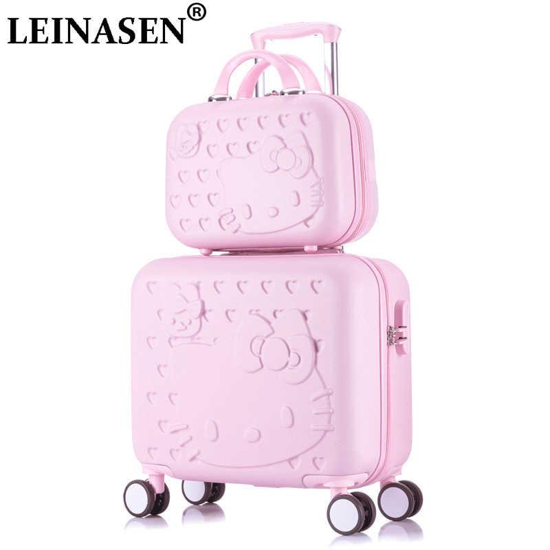 Hello kitty Набор для багажа и чемоданов, женская сумка для детей в подарок, прекрасный чехол для путешествий с героями мультфильмов, тележки универсальные на колесах